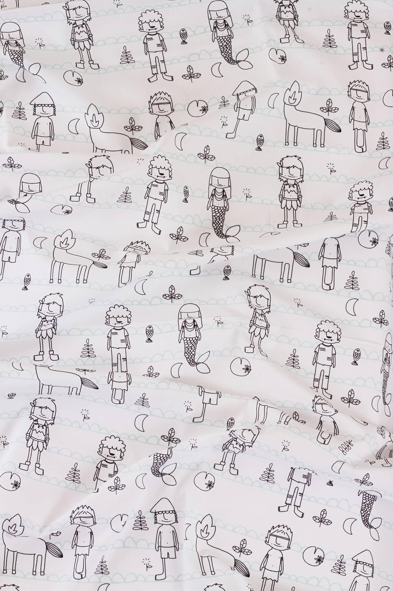 Kit trio solteiro Folclore Preto e Branco (fronha estampada + lençol de cobrir estampado + lençol de elástico branco) *nesse kit o lençol de elástico é GRÁTIS*