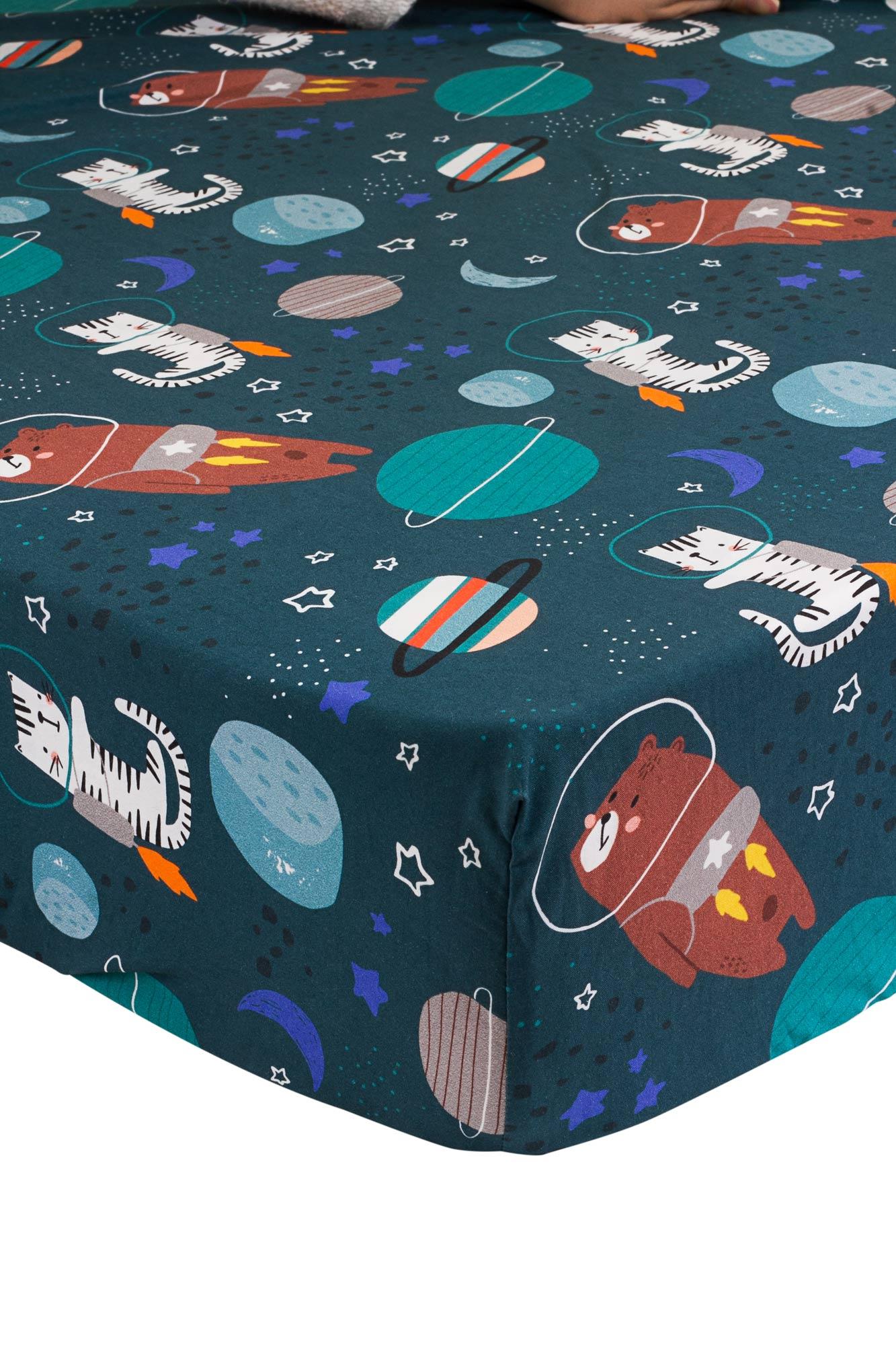 Lençol de elástico mini cama Caça ao Tesouro Cósmico