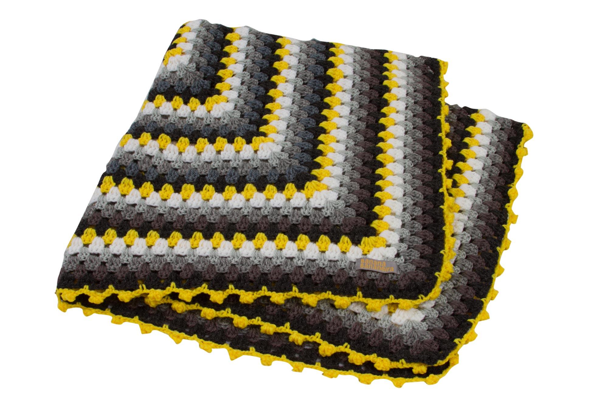 Manta de crochê quadriculada amarelo e cinza