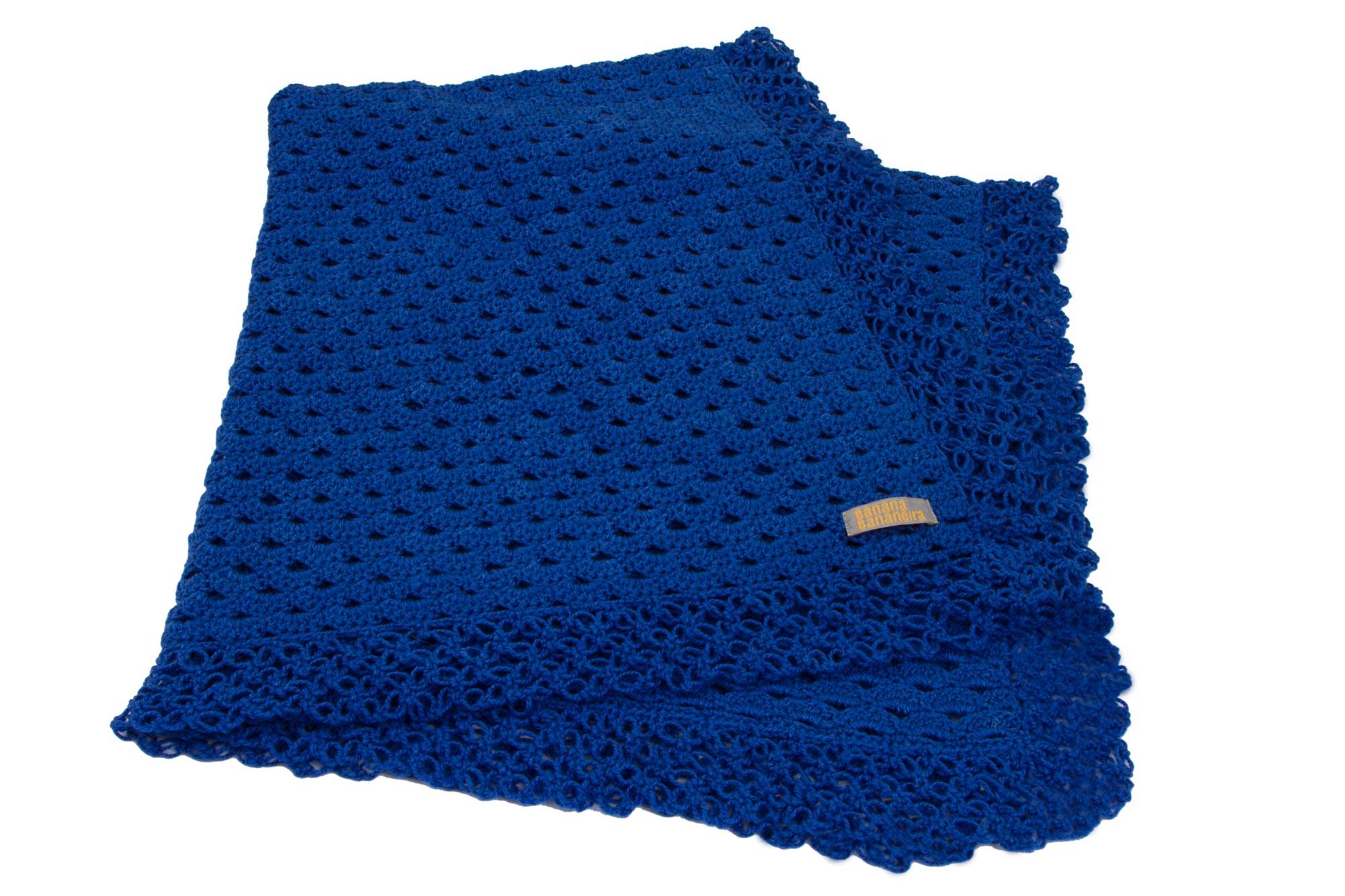 Manta de crochê renda azul royal