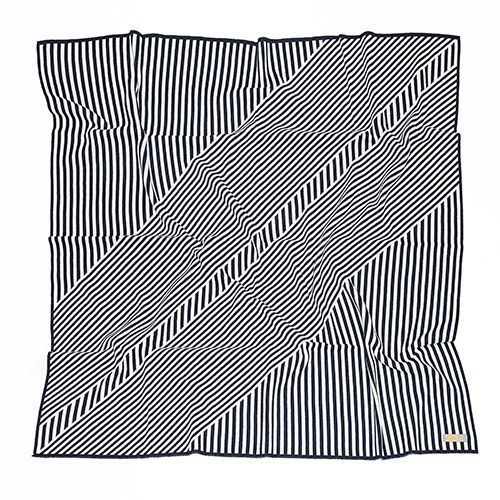 Manta de tricô geométrica azul intenso