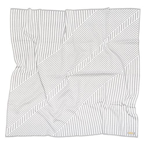 Manta de tricô geométrica cinza e off-white