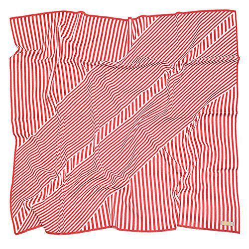 Manta de tricô geométrica vermelho e branco