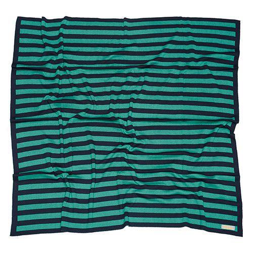 Manta de tricô listrada azul marinho e verde