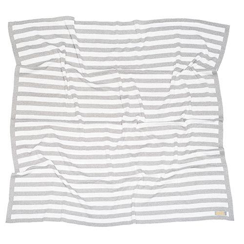Manta de tricô listrada cinza e off-white