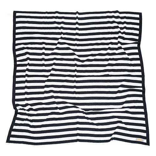 Manta de tricô listrada preto e branco