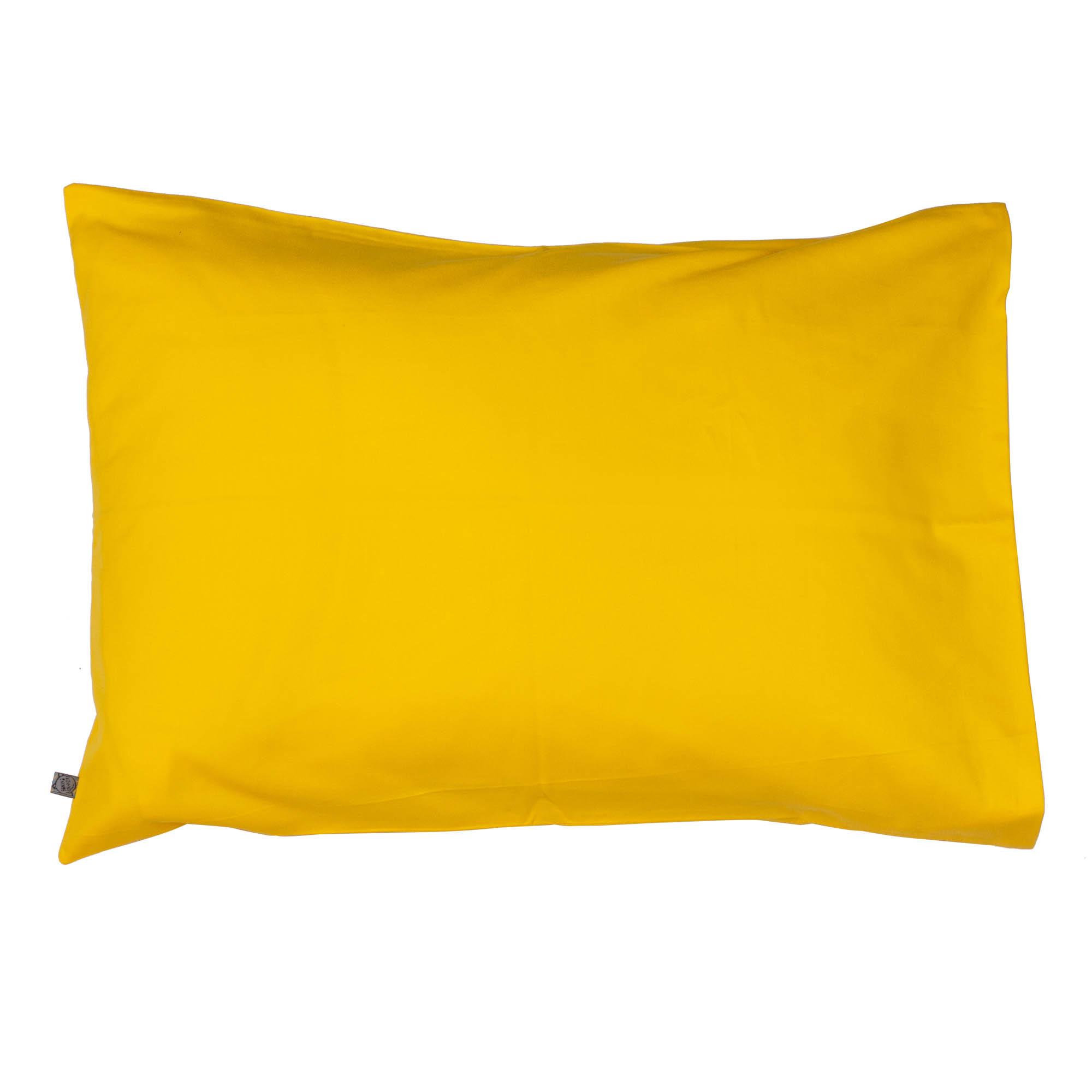Porta travesseiro liso amarelo