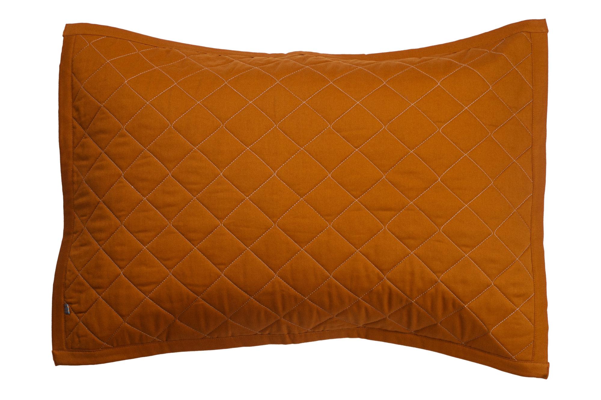 Porta travesseiro matelassê ocre e mostarda