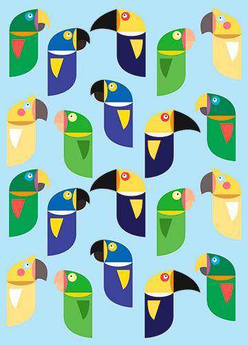 Pôster Pássaros Brasileiros Azul