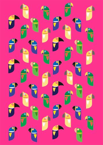 Pôster Pássaros Brasileiros Pink