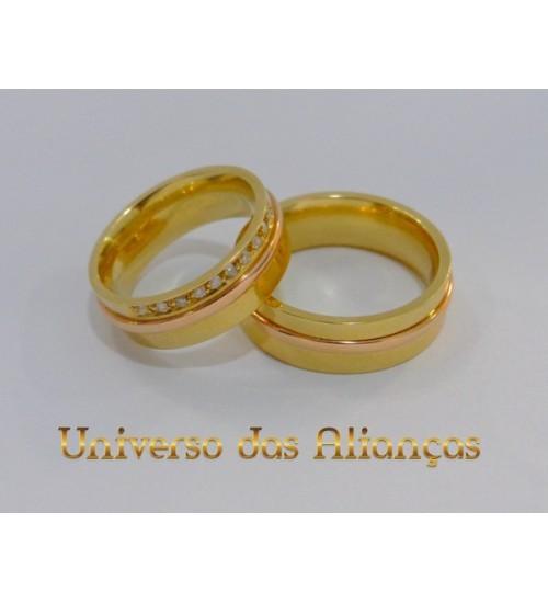 Alianças Ouro Amarelo e Rose