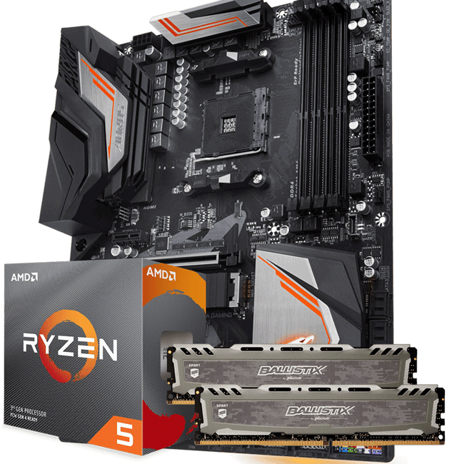 KIT UPGRADE PROCESSADOR AMD RYZEN 5 3600 / PLACA MÃE GIGABYTE X470 AORUS ULTRA GAMING / MEMÓRIA BALLISTIX SPORT 2x8GB 2666MHZ