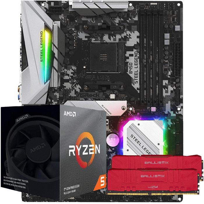KIT UPGRADE PROCESSADOR AMD RYZEN 5 3600X / PLACA MÃE ASROCK B450 STEEL LEGEND / MEMORIA BALLISTIX 2x8GB 3000MHZ