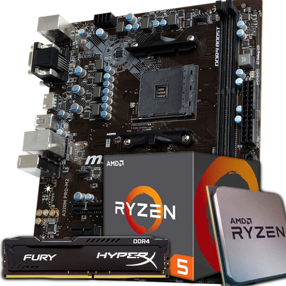 KIT UPGRADE RYZEN 5 2600 / A320 PRO M2 / 8GB 2400MHZ HYPERX