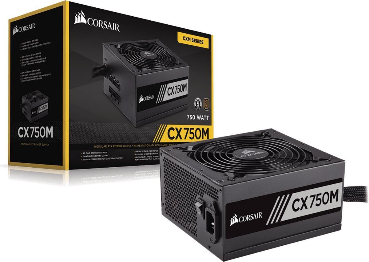 FONTE CORSAIR CX750M 750W, CERTIFICADO 80 PLUS BRONZE