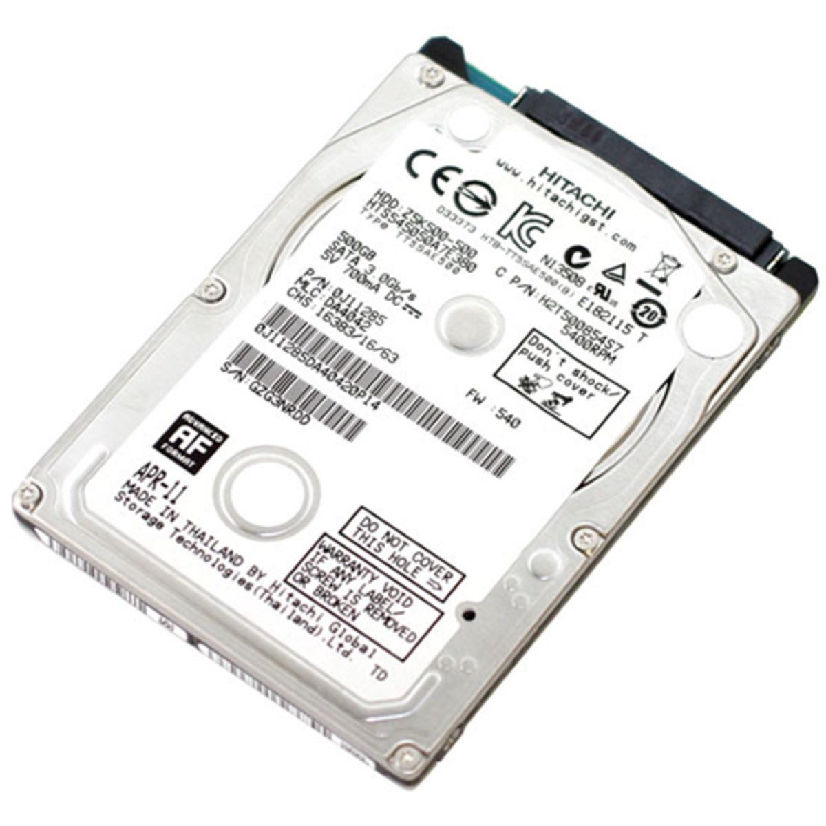 HD 500GB NOTEBOOK HITACHI HGTS SLIM SATA II
