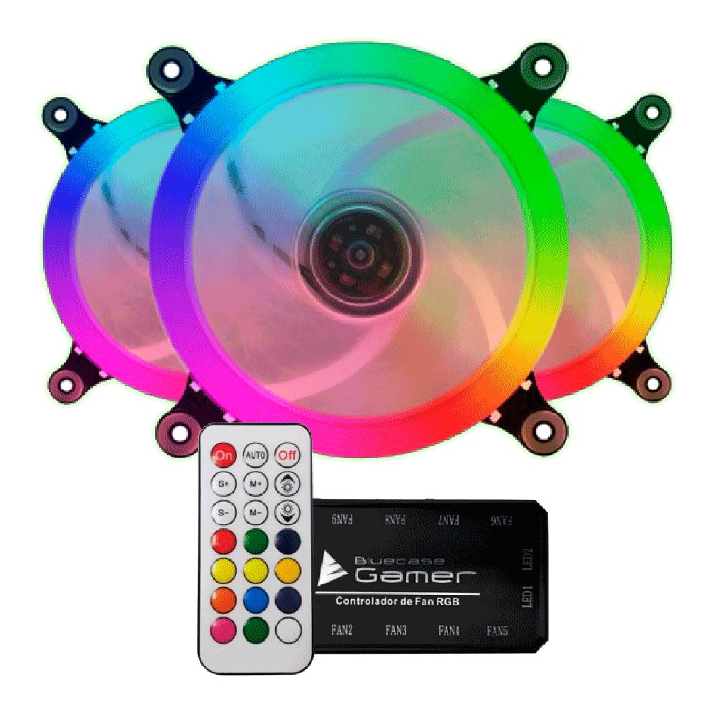 Kit Fan Cooler com 3 Fans BFR-09RGB e Controlador BCF-01 RGB