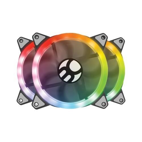 Kit Fan Ventoinha RGB Com 3 fans e Controlador Com Controle Remoto