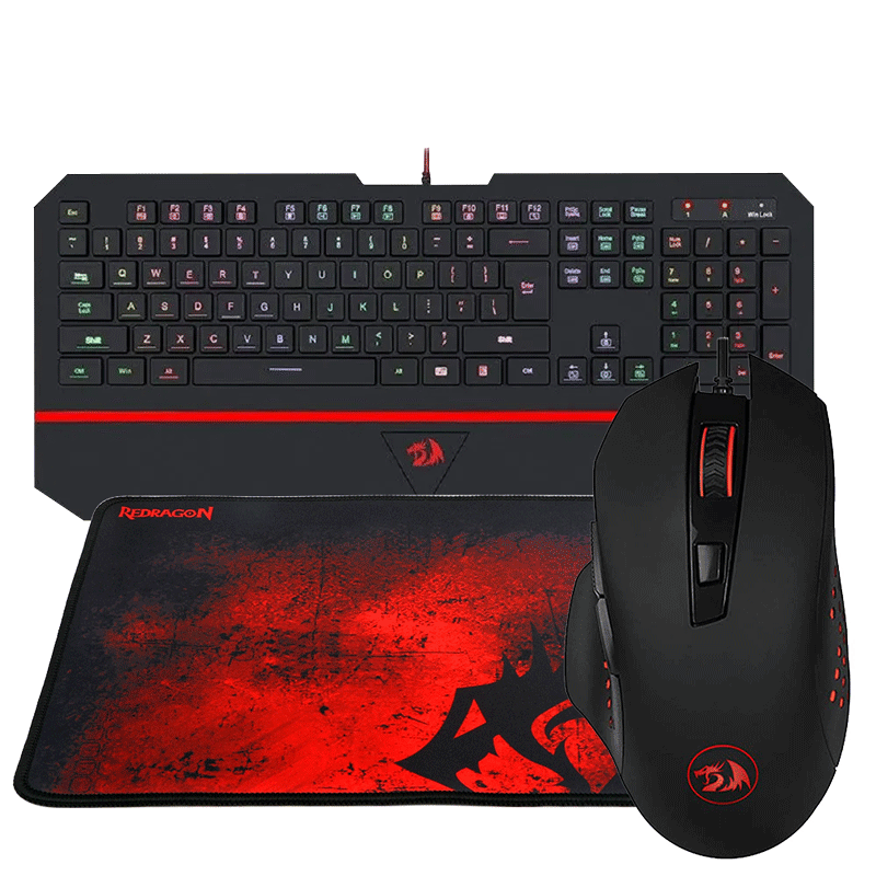 Kit Gamer Teclado Mouse Mousepad RGB Redragon