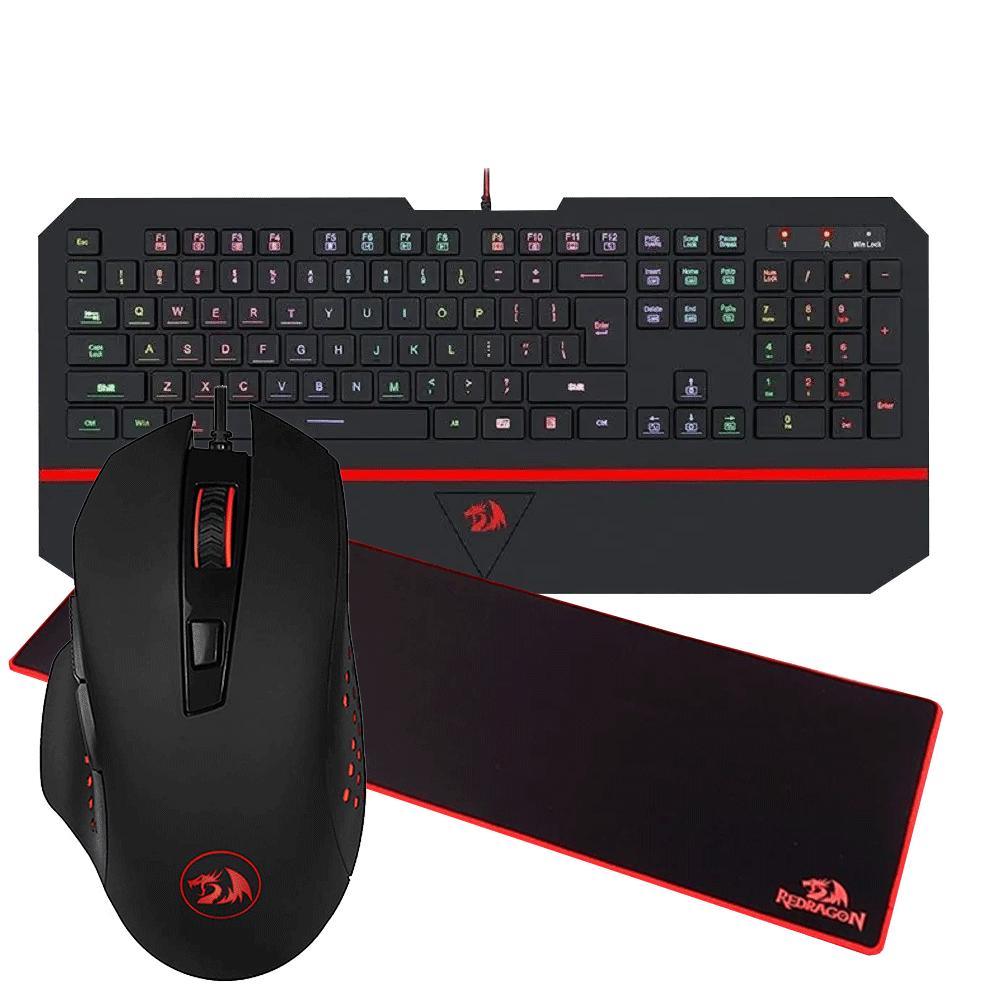 Kit Gamer Teclado Mouse Mousepad Extra Grande Redragon