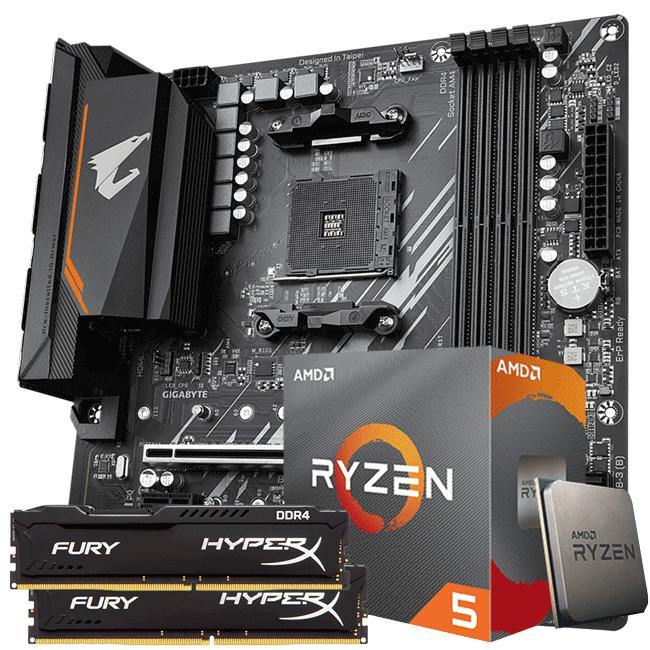 Kit Upgrade AMD Ryzen 5 3600 / Placa Mãe Gigabyte B550M Aorus Elite / Memória Hyperx 2x8gb 2666mhz