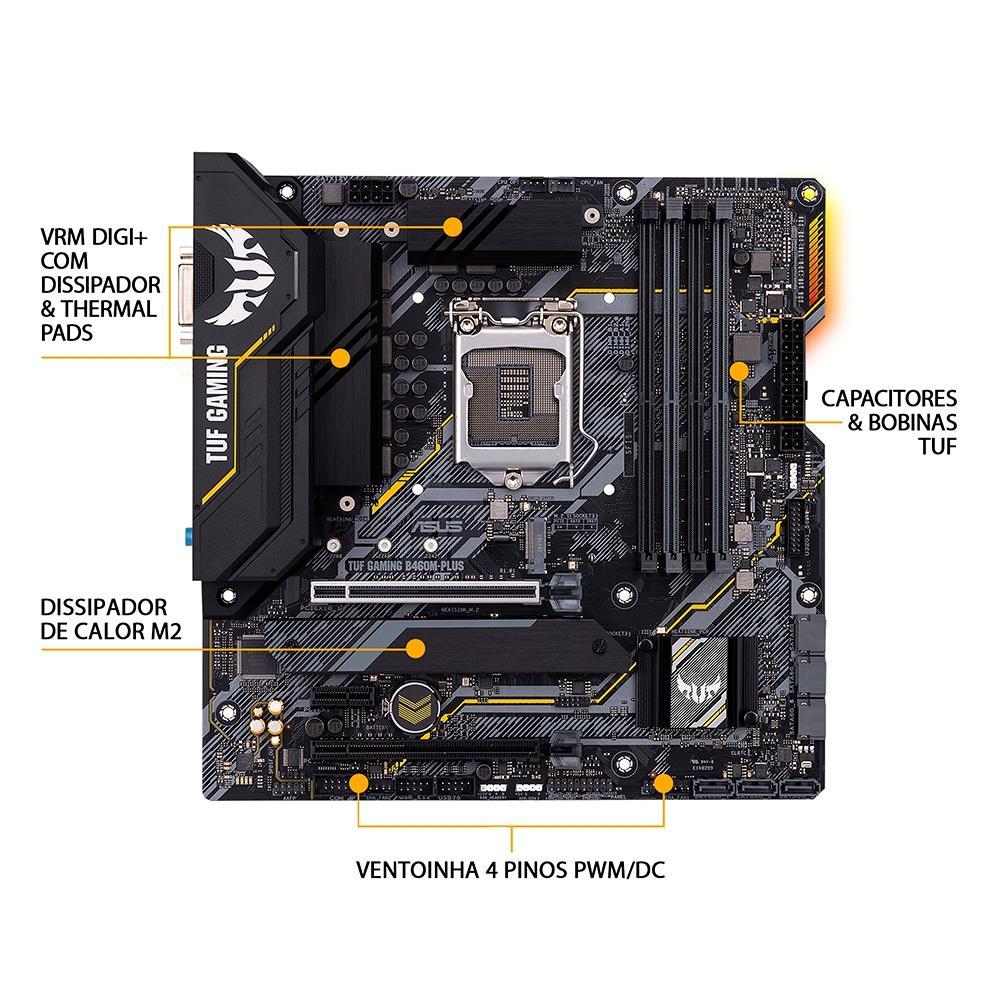 Kit Upgrade Intel i3 10100 / Placa Mãe Asus Tuf B460M Plus