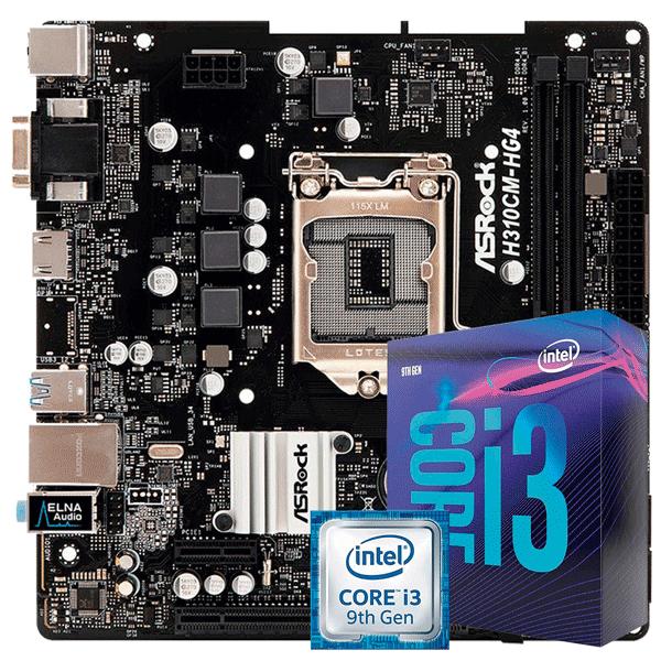 KIT UPGRADE INTEL I3 9100F / PLACA MÃE ASROCK H310CM-HG4 DDR4