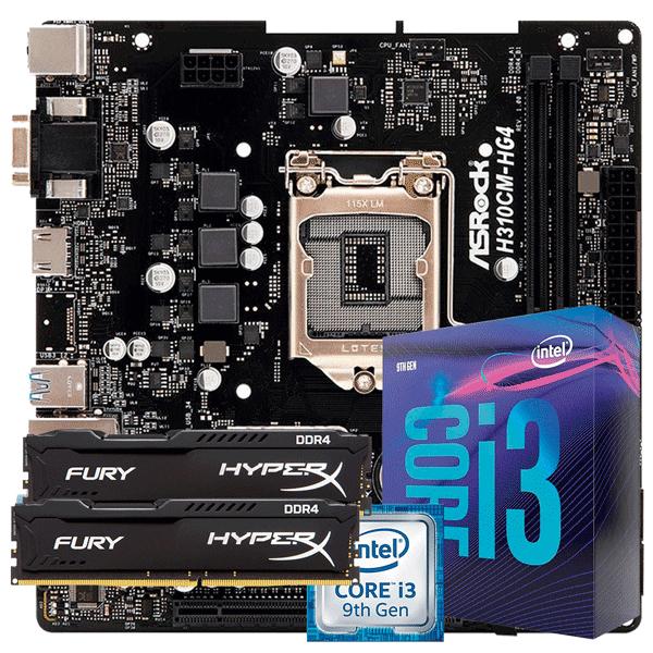KIT UPGRADE INTEL I3 9100F / PLACA MÃE ASROCK H310CM-HG4 DDR4 / MEMÓRIA HYPERX 2x8GB
