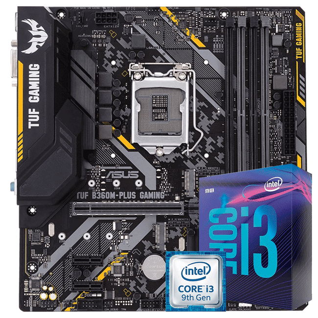 KIT UPGRADE INTEL I3 9100F / PLACA MÃE ASUS TUF B360M-PLUS GAMING