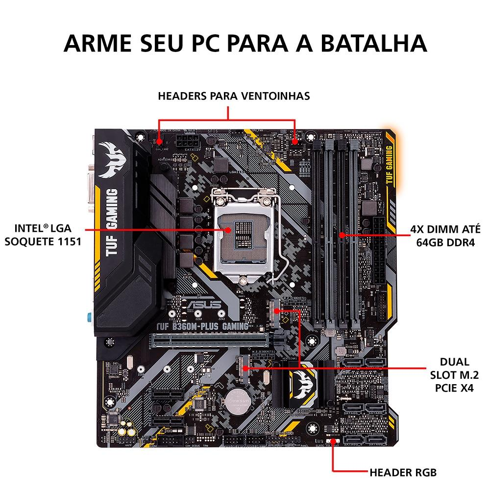 KIT UPGRADE INTEL I3 9100F / PLACA MÃE ASUS TUF B360M-PLUS GAMING / MEMÓRIA HYPERX 2x8GB 2666MHZ