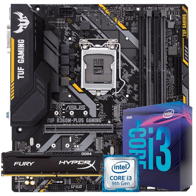 KIT UPGRADE INTEL I3 9100F / PLACA MÃE ASUS TUF B360M-PLUS GAMING / MEMÓRIA HYPERX 8GB 2666MHZ