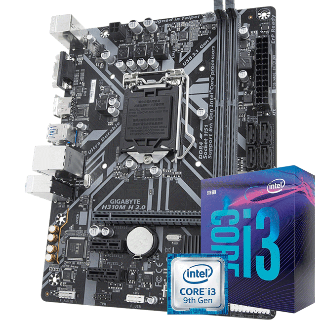 Kit Upgrade Intel i3 9100f / Placa Mãe Gigabyte H310M H 2.0