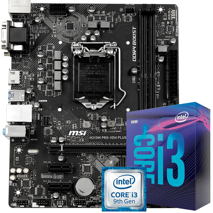 KIT UPGRADE INTEL I3 9100F / PLACA MÃE MSI H310M PRO VDH-PLUS