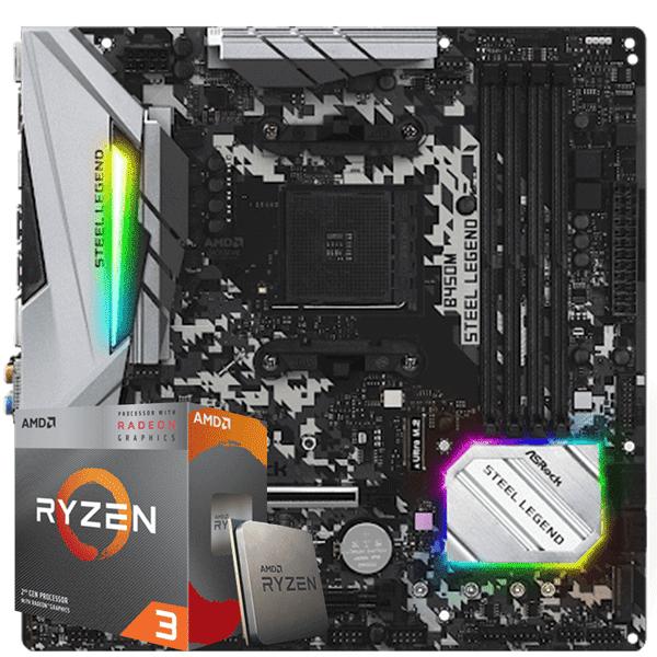 Kit Upgrade Processador AMD Ryzen 3 3200G / Placa Mãe Asrock B450M Steel Legend