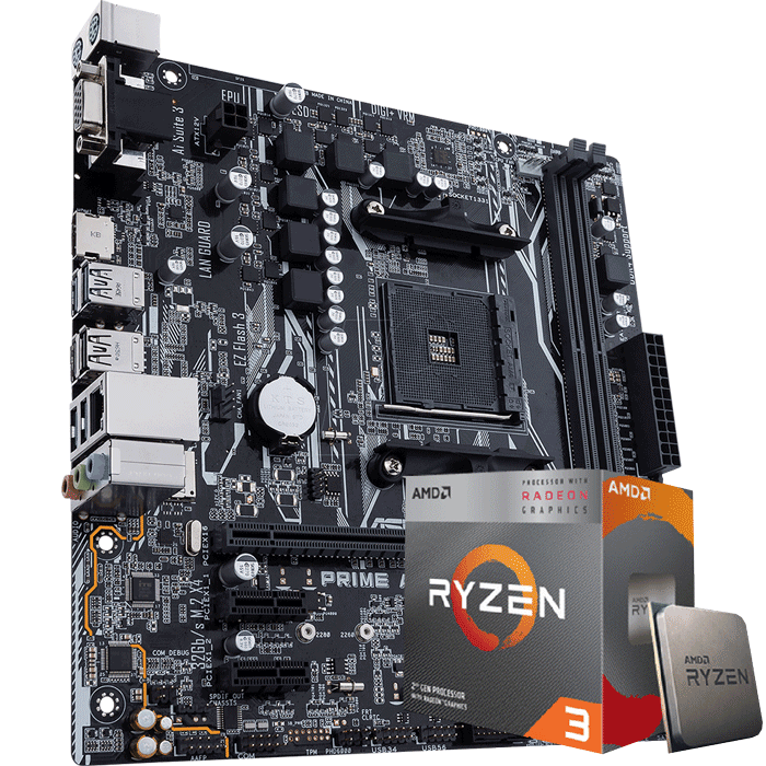 KIT UPGRADE PROCESSADOR AMD RYZEN 3 3200G / PLACA MÃE ASUS PRIME A320M-K