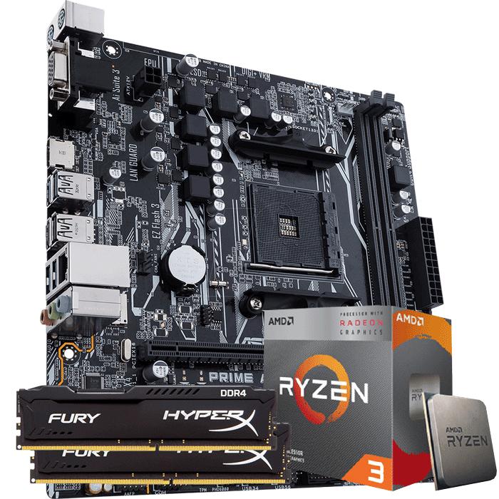 KIT UPGRADE PROCESSADOR AMD RYZEN 3 3200G / PLACA MÃE ASUS PRIME A320M-K / MEMÓRIA HYPERX 2x8GB 2666MHZ