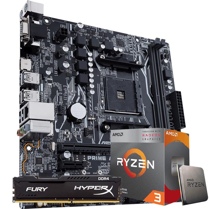 KIT UPGRADE PROCESSADOR AMD RYZEN 3 3200G / PLACA MÃE ASUS PRIME A320M-K / MEMÓRIA HYPERX 8GB 2666MHZ