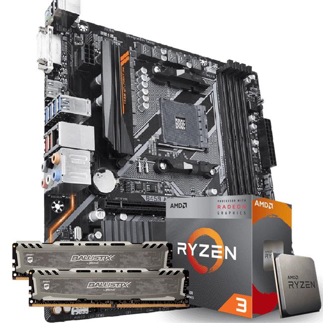KIT UPGRADE PROCESSADOR AMD RYZEN 3 3200G / PLACA MÃE GIGABYTE B450 AORUS M / MEMÓRIA BALLISTIX SPORT 2x8GB 3000MHZ