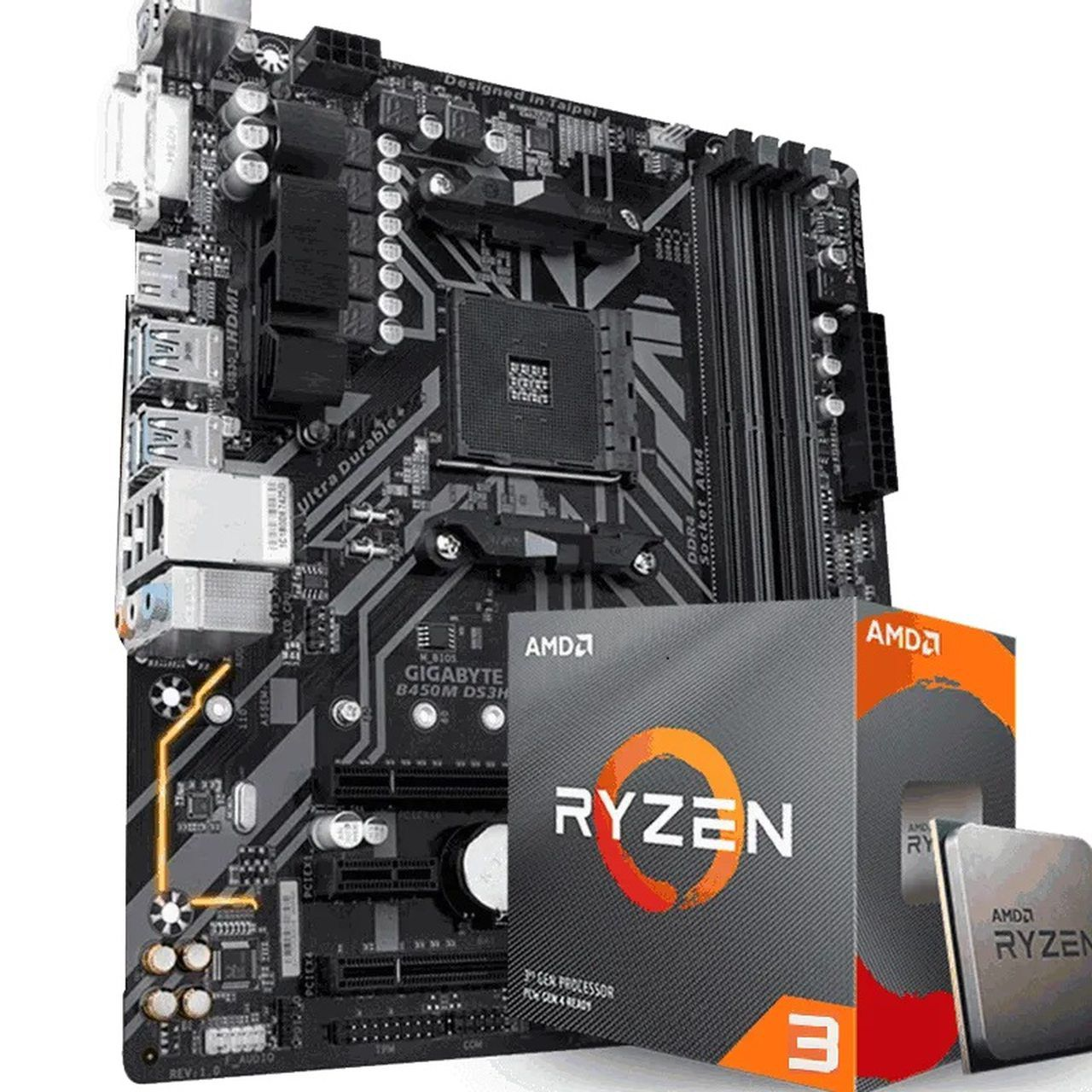 KIT UPGRADE PROCESSADOR AMD RYZEN 3 3200G / PLACA MÃE GIGABYTE B450M DS3H