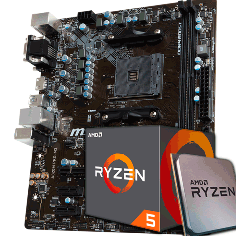 KIT UPGRADE PROCESSADOR AMD RYZEN 5 2600 / PLACA MÃE MSI A320 PRO M2