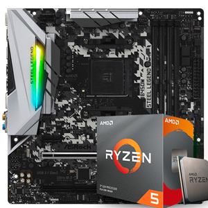 KIT UPGRADE PROCESSADOR AMD RYZEN 5 3600 / PLACA MÃE ASROCK B450 STEEL LEGEND