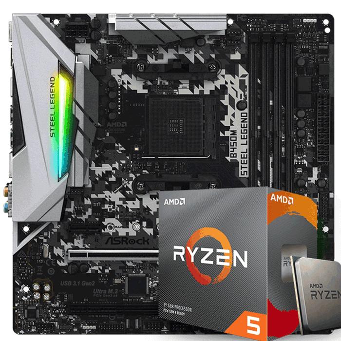 Kit Upgrade Processador Amd Ryzen 5 3600 / Placa Mãe Asrock B450M Steel Legend