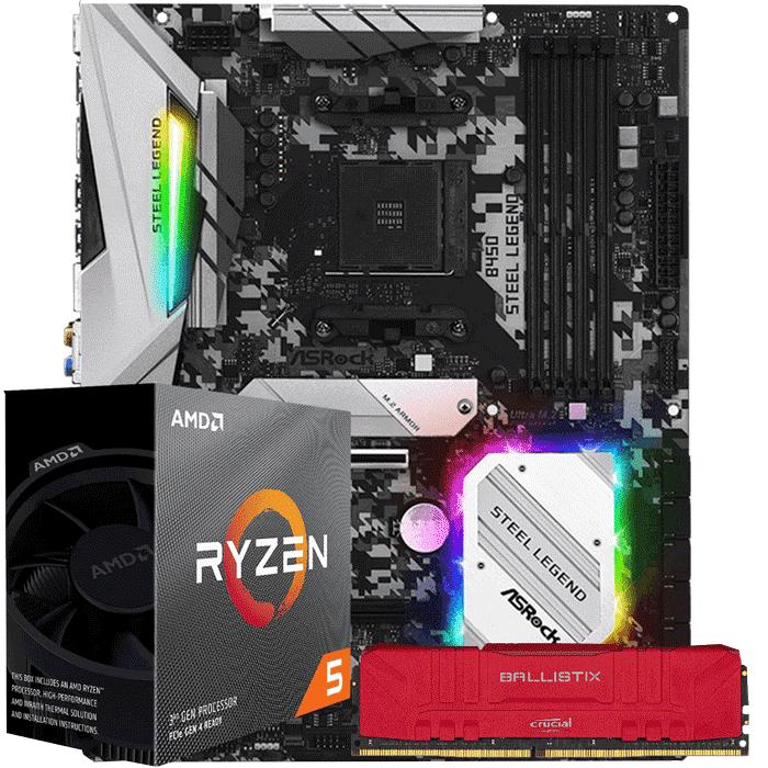 KIT UPGRADE PROCESSADOR AMD RYZEN 5 3600 / PLACA MÃE ASROCK B450 STEEL LEGEND / MEMORIA BALLISTIX 8GB 3000MHZ