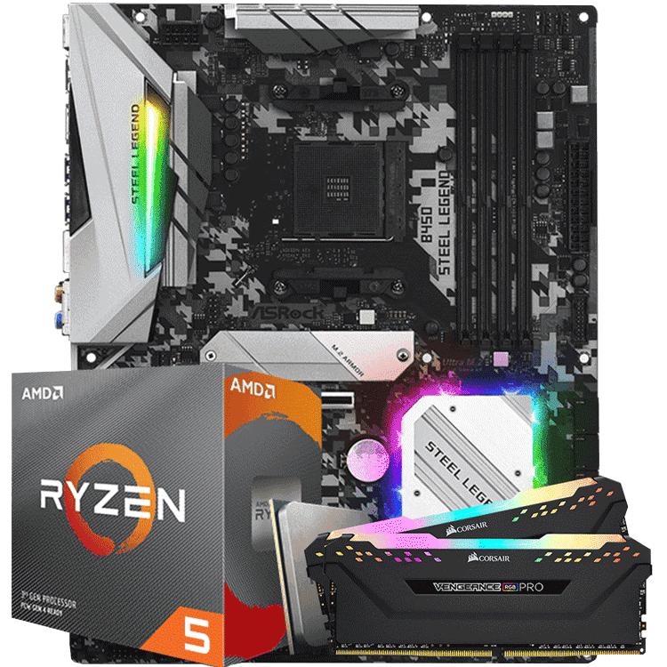 KIT UPGRADE PROCESSADOR AMD RYZEN 5 3600 / PLACA MÃE ASROCK B450 STEEL LEGEND / MEMORIA CORSAIR VENGEANCE PRO RGB 2x8GB 2666MHZ