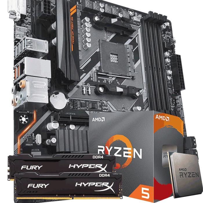 KIT UPGRADE PROCESSADOR AMD RYZEN 5 3600 / PLACA MÃE GIGABYTE B450 AORUS M / MEMÓRIA HYPERX 2x8GB 2666MHZ