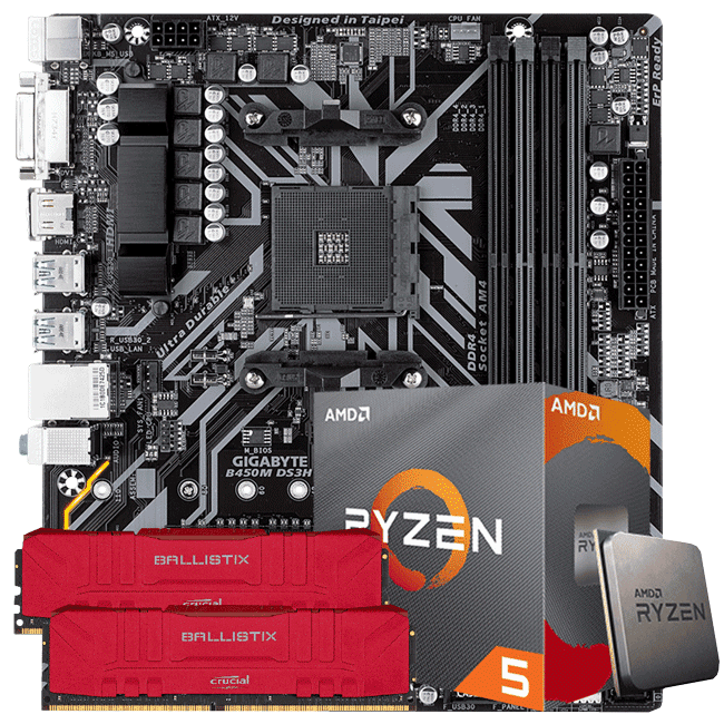 KIT UPGRADE PROCESSADOR AMD RYZEN 5 3600 / PLACA MÃE GIGABYTE B450M DS3H / MEMORIA BALLISTIX 2x8GB 3000MHZ