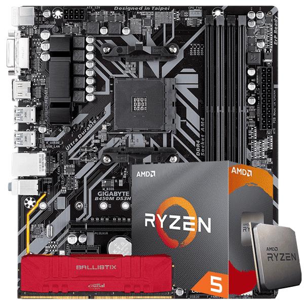 KIT UPGRADE PROCESSADOR AMD RYZEN 5 3600 / PLACA MÃE GIGABYTE B450M DS3H / MEMORIA BALLISTIX 8GB 3000MHZ