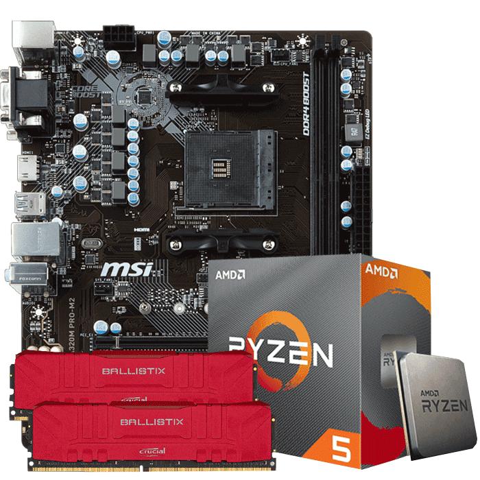 KIT UPGRADE PROCESSADOR AMD RYZEN 5 3600 / PLACA MÃE MSI A320 PRO M2 / MEMORIA BALLISTIX 2x8GB 3000MHZ