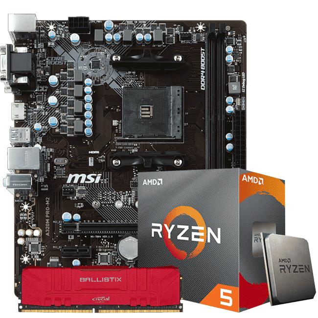 KIT UPGRADE PROCESSADOR AMD RYZEN 5 3600 / PLACA MÃE MSI A320 PRO M2 / MEMORIA BALLISTIX 8GB 3000MHZ