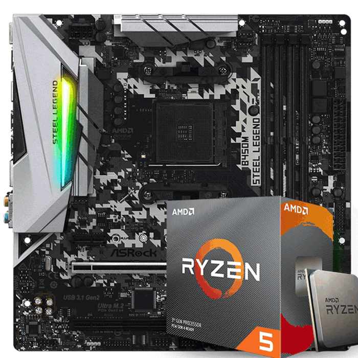 KIT UPGRADE PROCESSADOR AMD RYZEN 5 3600x / PLACA MÃE ASROCK B450 STEEL LEGEND